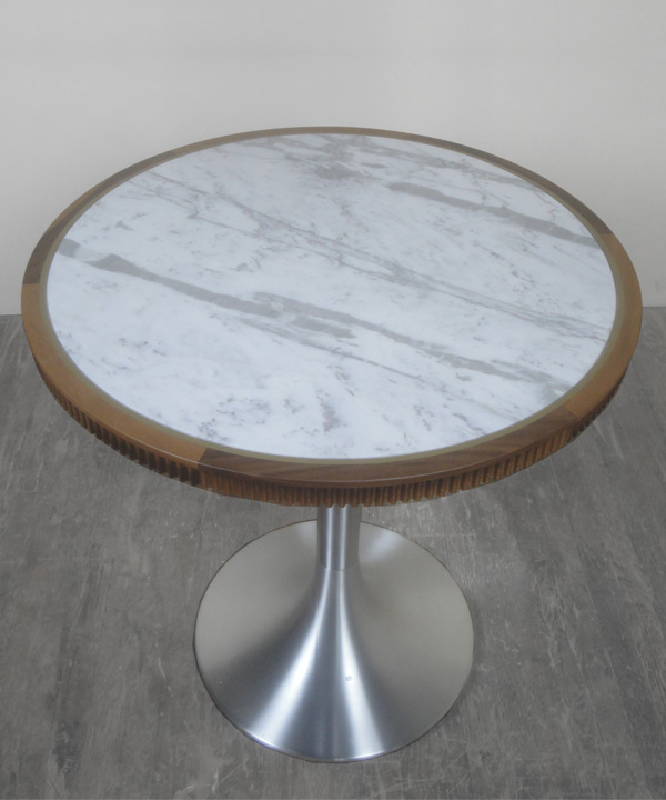 Marble Walnut Rim Table Top